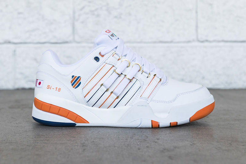 Anwar Carrots K-Swiss SI-18 white orange navy gold release info sneakers exclusive collaborations
