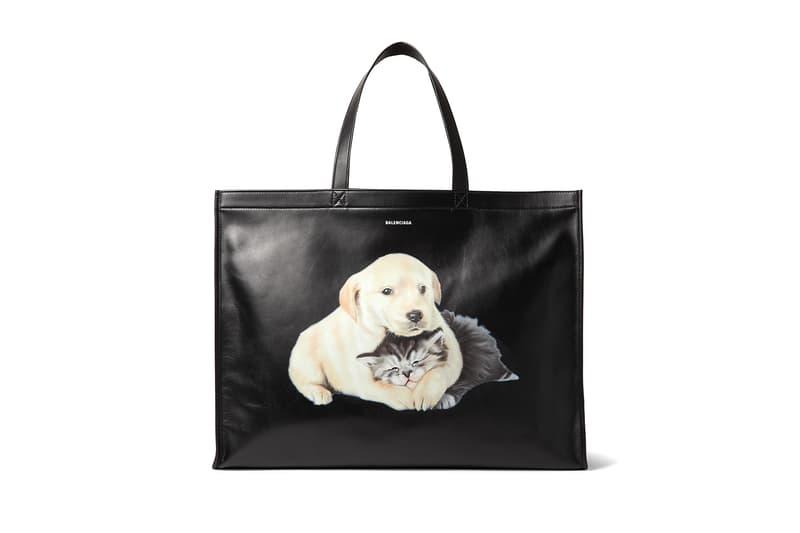 balenciaga animal printed leather tote bag fashion 2018 september mr porter puppy kitten