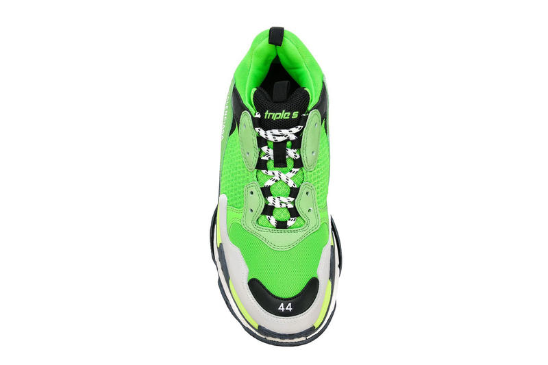 Balenciaga Triple S Lime Green and Black Farfetch