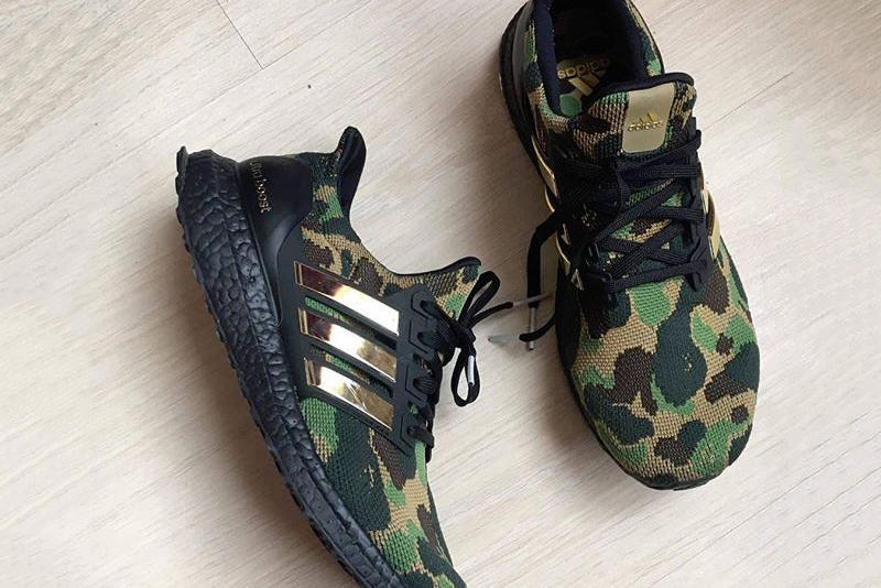new arrivals 06b4c 3c806 BAPE x adidas UltraBOOST Sample Images a bathing ape camouflage abc black  gold green brown tan