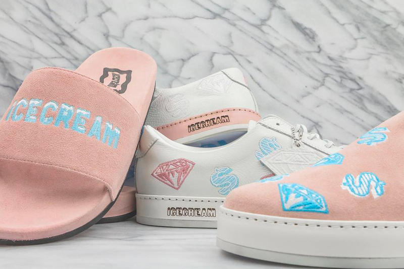 Billionaire Boys Club ICECREAM Made In Italy Launch Diamond and Dollar sneaker velour slide slip-on T shirt hoodies skate decks socks leather card case money trays keychain necklace