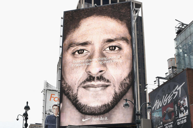 nike colin kaepernick ad campaign stock share prices rise 6 billion usd record peak sell out item support fans just do it investor september 2018 sportswear