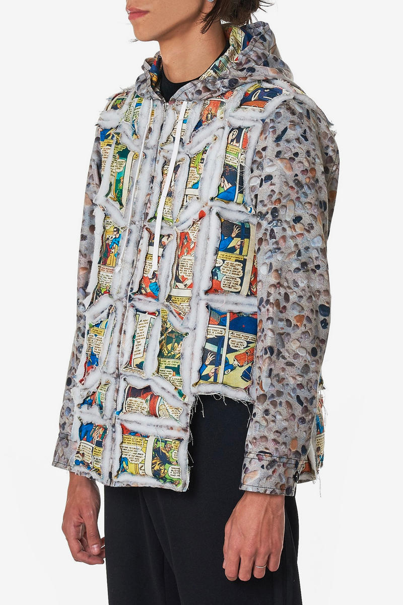 COMME des GARÇONS HOMME Plus Tiled Body Jacket fall winter 2018 release info comic strip multicolor