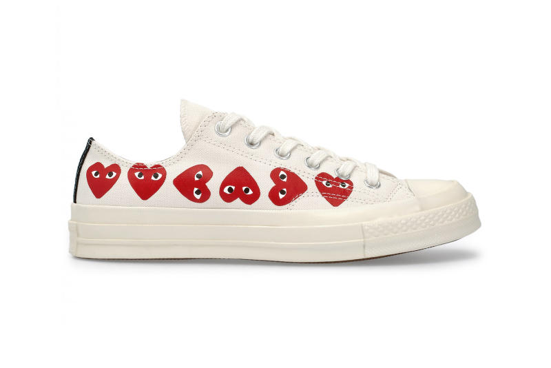 CdG PLAY x Converse Chuck Taylor All Star Release Date Details Shoes Trainers Kicks Sneakers Boots Footwear Cop Purchase Buy Soon Available Dover Street Market London White Khaki Repeated Heart Pattern