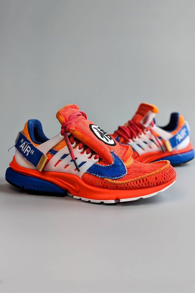 best website 3167e 61a2e off white nike air presto Dragon Ball Z Goku custom sneaker orange red blue  white virgil