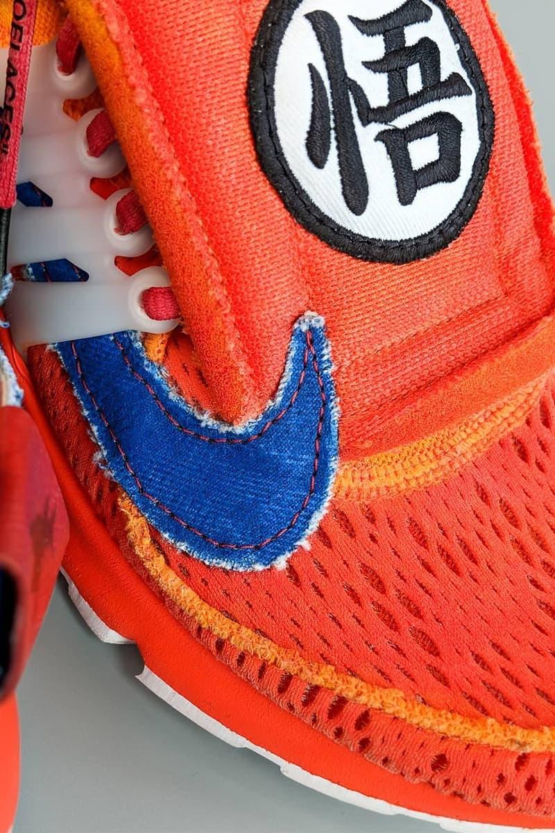 off white nike air presto Dragon Ball Z Goku custom sneaker orange red blue white virgil abloh dbz