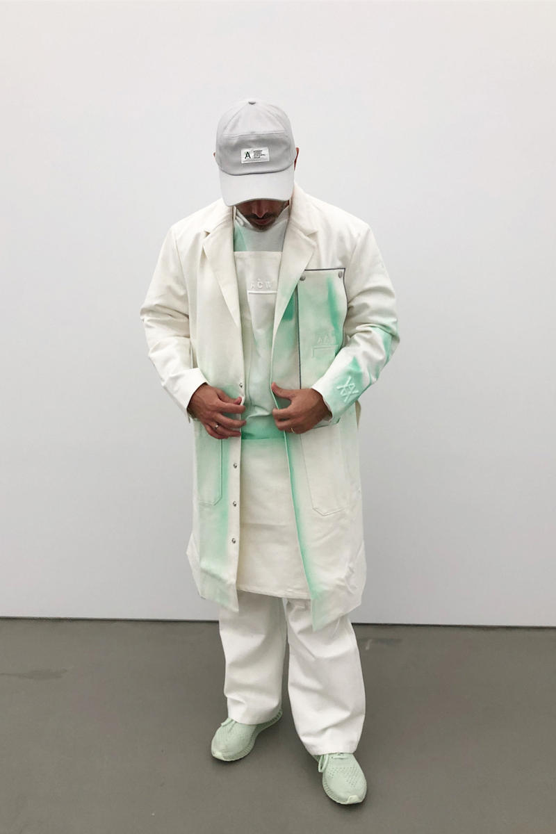 daniel arsham samuel ross a cold wall studio uniform design exclusive not for resale white lab coat dye work pants hat art new york