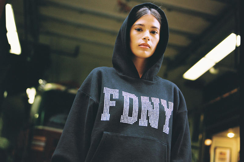 danielle guizio fdny new york city fire department collaboration sweatsuit sweater hoodie tee shirt print logo sweatpants print exclusive collaboration drop release date info charity foundation new york fashion week Micaiah Carter
