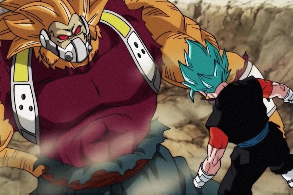 Super Saiyan Blue Vegito Faces Off Against Golden Ape Kanba
