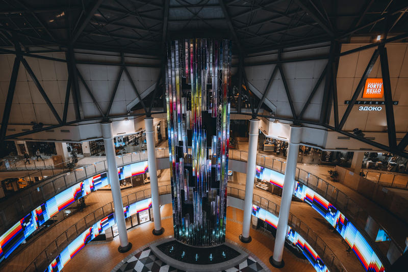 Felipe Pantone Disrupts Moscow Atrium with New 'DATAFALL' Sculpture