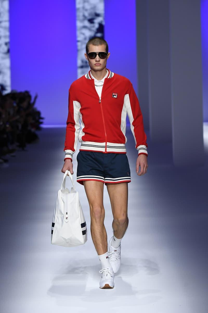 FILA Spring Summer 2019 Milan Fashion Week sportswear jackets swaeters hoodies bags hats accessories runway