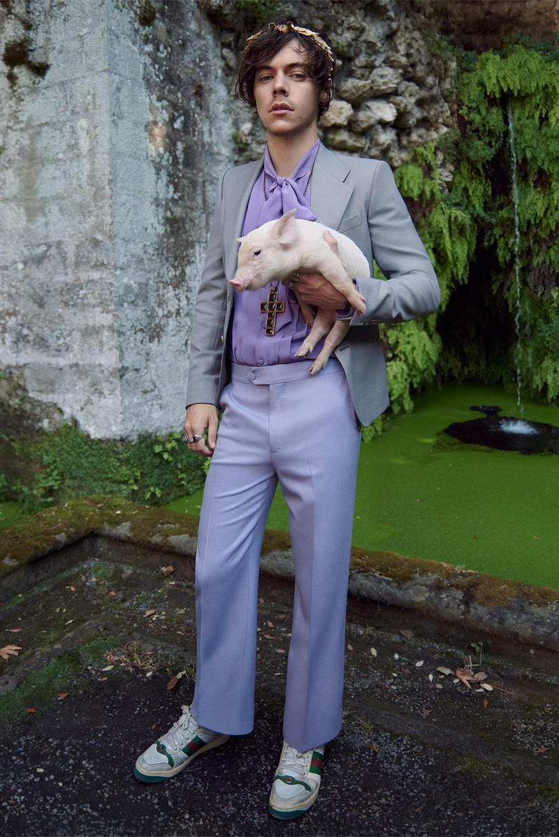 Gucci Cruise Harry Styles 2019 Mens Tailoring Campaign Fashion Clothing Garments High End Cop Purchase Buy Available Soon Glen Luchford Italy Villa Lante pig goat sheep