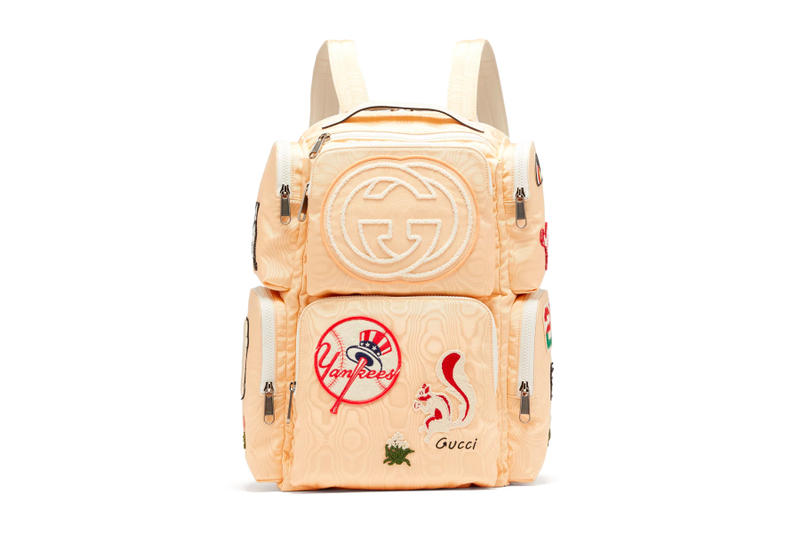 Gucci Moiré Canvas Backpack Patches beige release info new york yankees  bags accessories 6196fe16a54b6