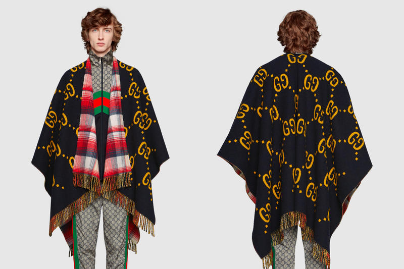 Gucci Reversible Wool Poncho GG logo tartan print black yellow red blue white release info