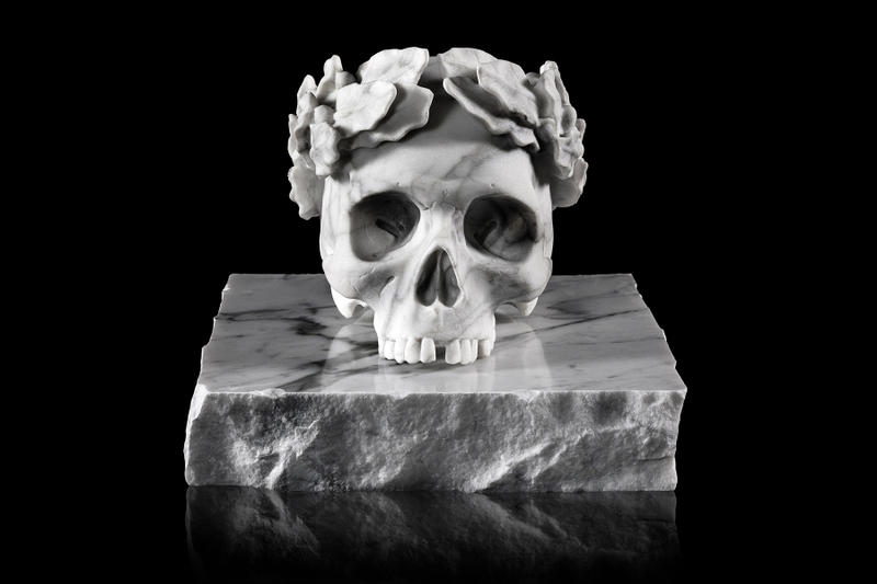jun cha capo marble skull sculpture artworks art collectible