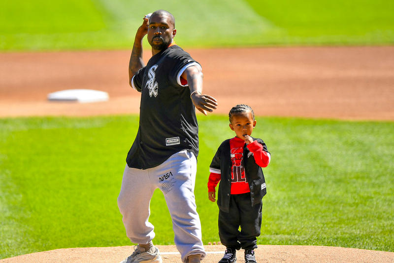 kanye west saint white sox game first pitch baseball video