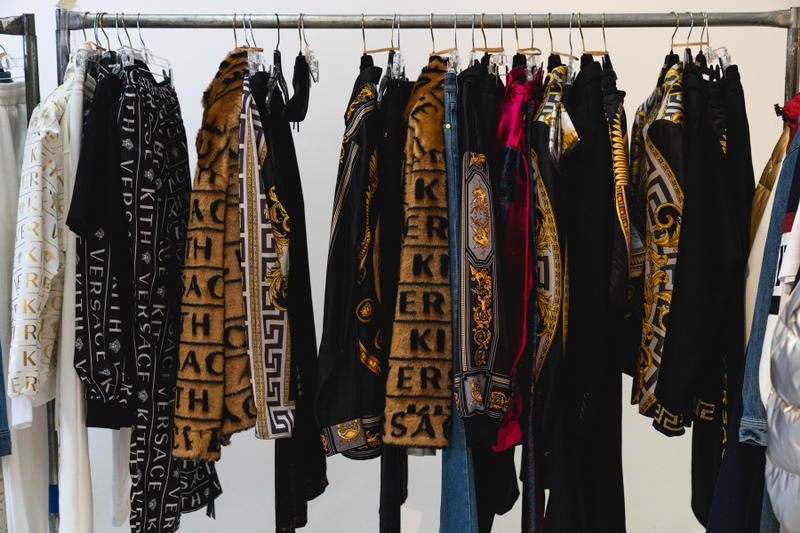 kith park fall winter 2018 runway show collection backstage closer look versace sneakers jacket hat shirt branding logo ronnie fieg