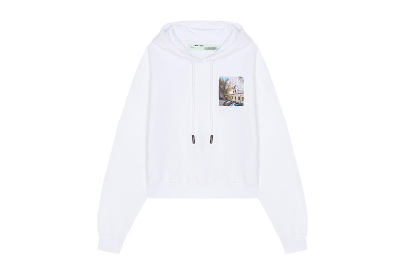 off white km20 exclusive capsule collection collaboration drop release date september 6 2018 panther hoodie tee shirt dress tulle socks belt industrial logo branding graphics limited russia store socks sweatpants track cycling long sleeve short white black