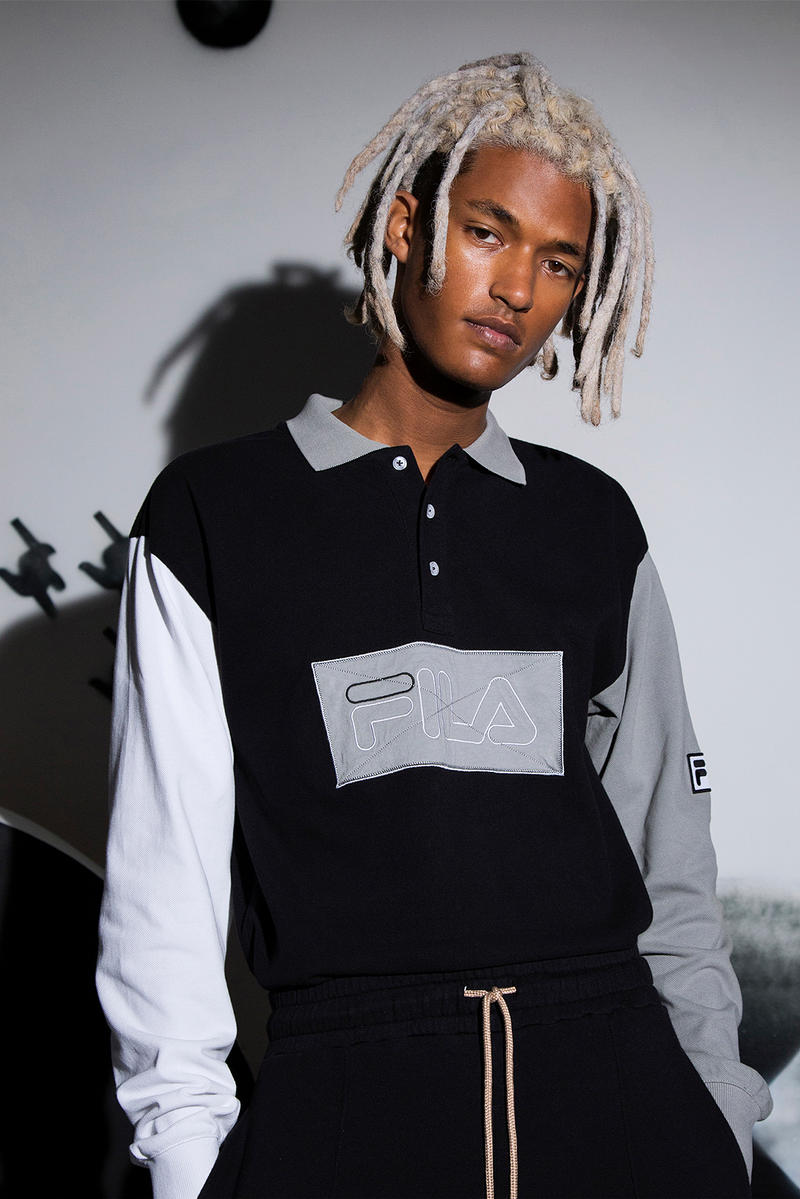 Liam Hodges Fila Fall/Winter 2018 Lookbook Fashion Clothing Cop Purchase Buy Dover Street Market London Selfridges Disruptor 2 II London Fashion Week Magic Line