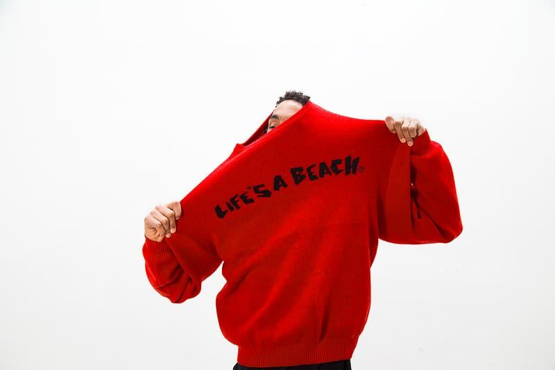 Life's a Beach lookbook fall winter 2018 collection london greg finch red orange blue tie dye flannel middle finger print pattern logo sweatsuit fleece hoodie t shirt september 20 2018 drop release date