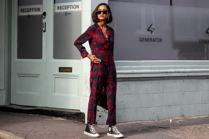 London Fashion Week Spring Summer 2019 Street Style plaid floral prints prada nike christian dior acne gucci fendi streetsnaps