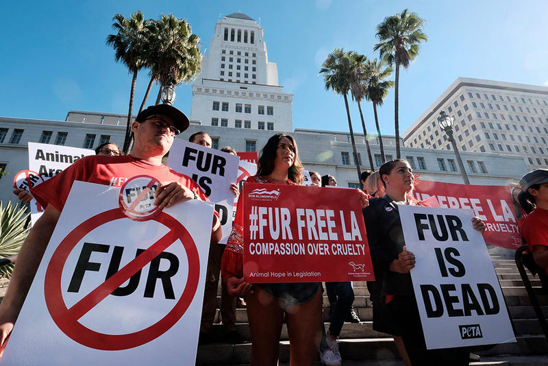 Los Angeles Bans Fur Sales Protesters PETA LA California Manufacture Production Vegan