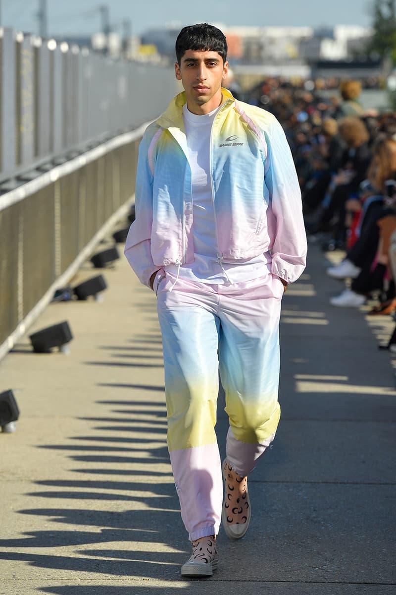 Marine Serre spring summer 2019 runway menswear kid paris fashion week debut sportswear logo print denim jacket floral first converse collaboration laceless slip on chuck taylor
