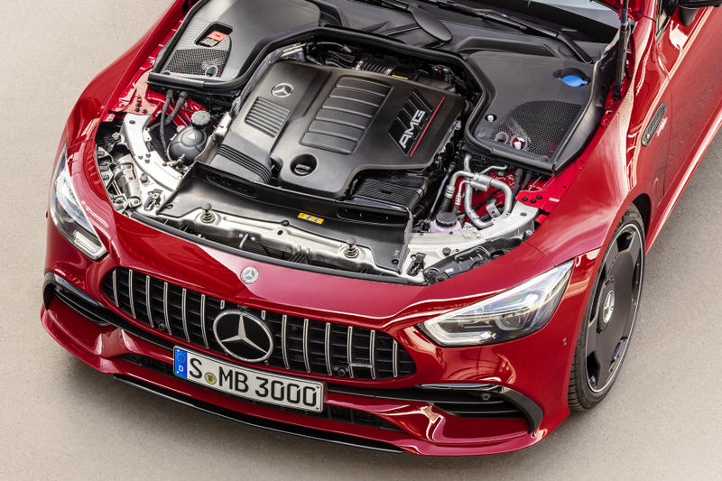 Mercedes GT 43 First Look affordable AMG GT 4 Door Coupe red Specs top speed horsepower car automobile