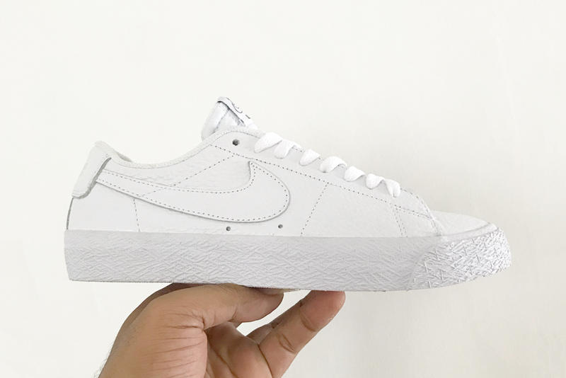NBA Nike SB Blazer Low Collaboration First Look white colorway premium tumbled leather sneaker footwear dunk basketball skateboarding