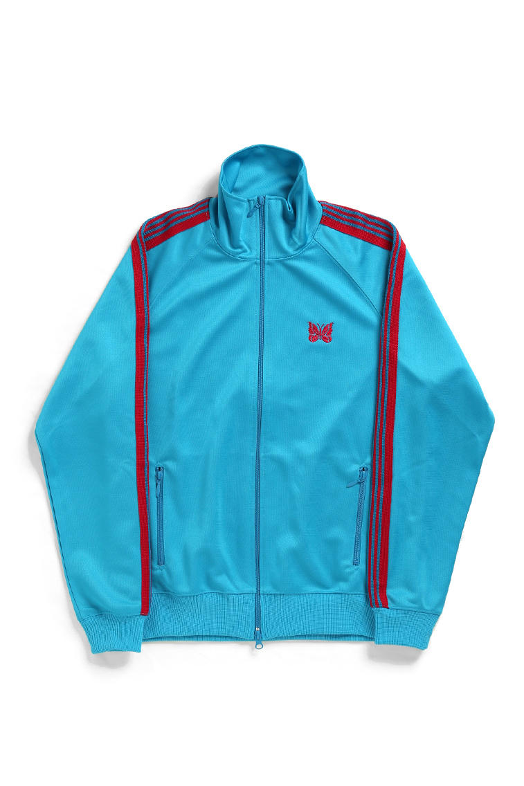 needles track suit jacket pants turquoise grey colorways drop release japan NEPENTHES buy sell poly smooth slim straight