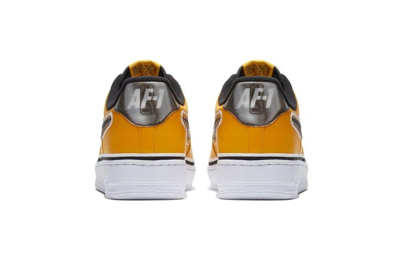 Nike Air Force 1 Low NBA Los Angeles Lakers LA colorway yellow black colorway sneaker release date info price details basketball team colors