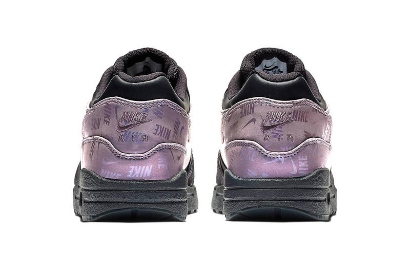 Nike Air Max 1 Black Iridescent Purple logo branding fall 2018 release sneakers