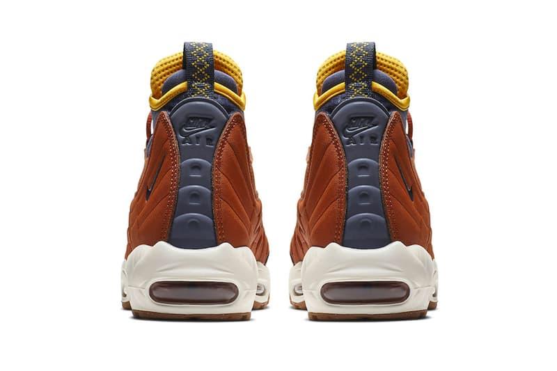 Nike Air Max 95 Sneakerboot Dark Russet Thunder Blue light bone yellow release info