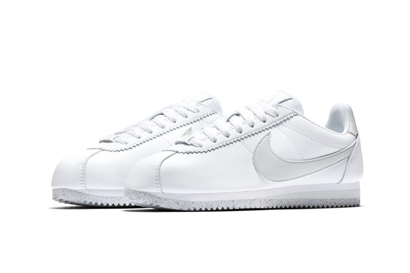 Nike Cortez Flyleather Sustainable Sustainability synthetic hybrid material white light silver womens