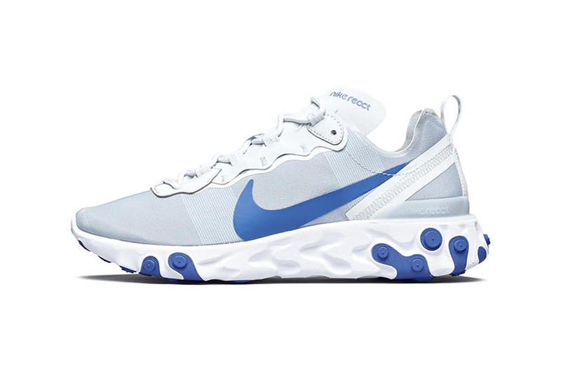 Nike React Element 55 Racer Blue sneakers kicks shoes nike react undercover flywire crepes trainers technology fashion footwear colors blue colours react element