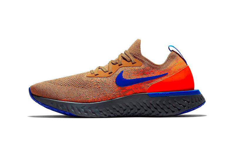 Nike Epic React Flyknit Release Golden Beige Racer Blue Total Orange