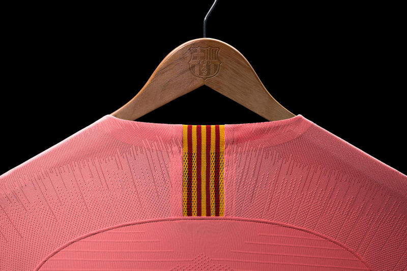 Nike FC Barcelona Nike 2018/19 Third Kit Details Football Shirts Soccer Sports Kits Clothing Pink Red