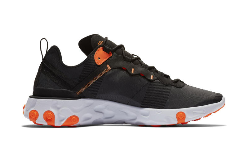 "Nike React Element 55 ""Black/Total Orange"" sneaker colorway release date info price purchase buy trainers"