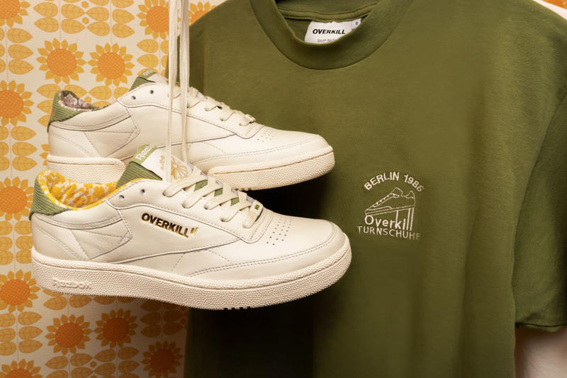 Overkill Reebok Classic Berlin 1985 white green sneakers shoes september 2018 club c 85 buckware t shirt socks lookbook capsule collaboration