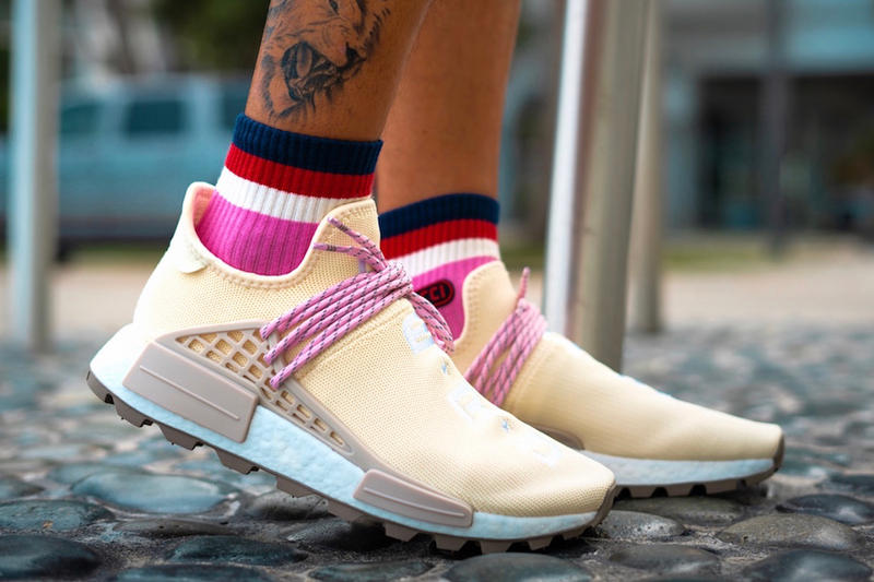 885c82ea5 Pharrell adidas Originals NMD Hu N.E.R.D. On Foot look cream pink beige  sneakers