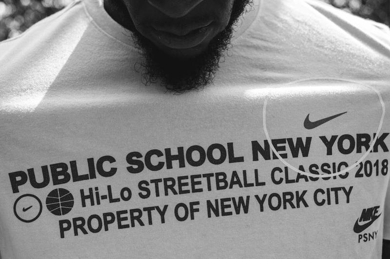 public school nike pop up shop streetball lower east side new york exclusive air force 1 sneaker one sho footwear collaboration jersey basketball tee shirt hoodie shorts bball socks print patch custom bespoke patchwork contest win september 4 6 2018 limited drop release information price launch purchase buy sell sale