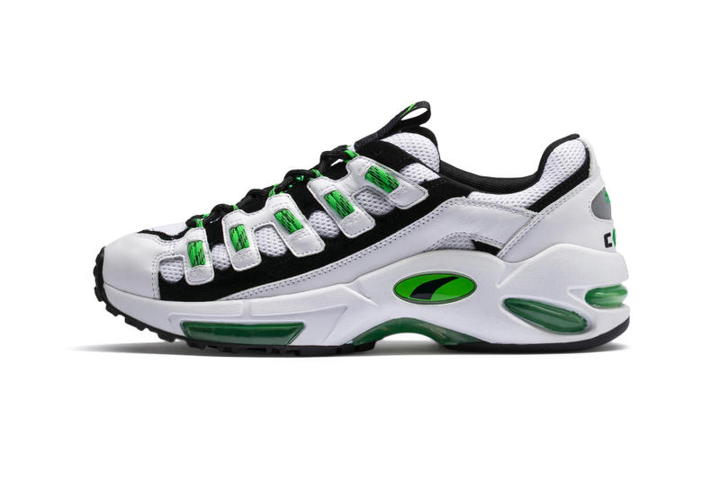 PUMA CELL Endura Release date information pictures on feet foot model lookbook background product shots phots White Surf The Web 1998 runner running sneaker visible air sole unit midsole bubble