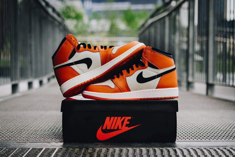 size 40 714eb b5e6a Reverse Shattered Backboard Air Jordan 1 Factory Flaw Error Upside down  Swoosh orange white black