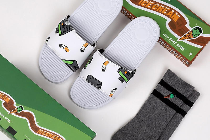 SANDALBOYZ Billionaire Boys Club bbc ice cream fall 2018 collection capsule collab collaboration sandals white cigarettes beepers grey gray sockers crew buy