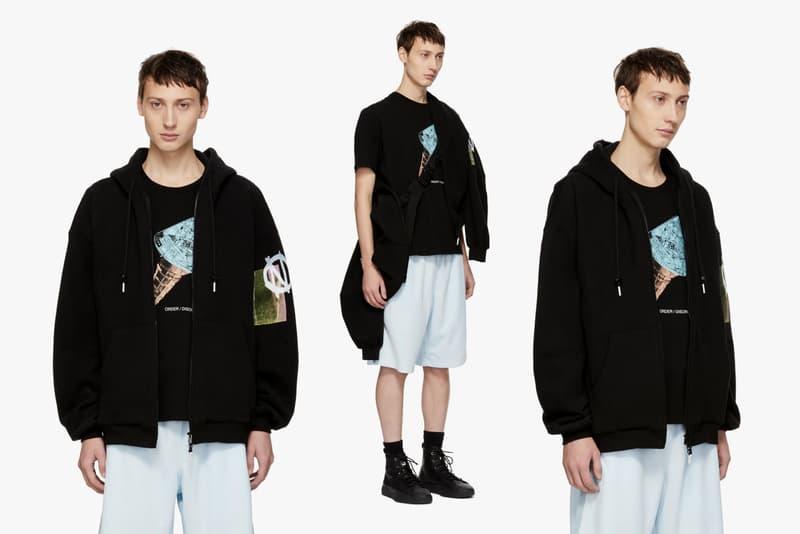 99%IS FW'18 Collection Ssense coats jackets sweaters pants punk bajowoo diy bondage zipper screenprint long sleeve shirt bat hood jacket