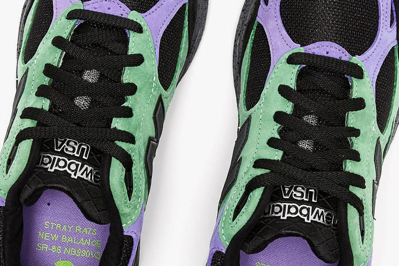 Stray Rats New Balance 990v3 collaborations release info black purple green sneakers