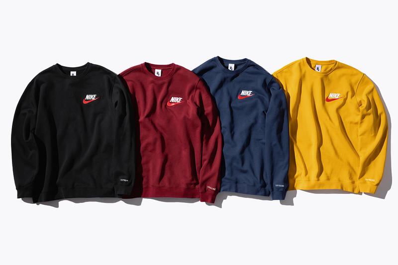 Supreme Nike Fall/Winter 2018 Collection Info NSW NikeLab Supreme Vest Jackets Sweat Suits earrings denim jackets touques beanies outerwear winter fall new york toyko logo overalls chore coat flannel polo logo