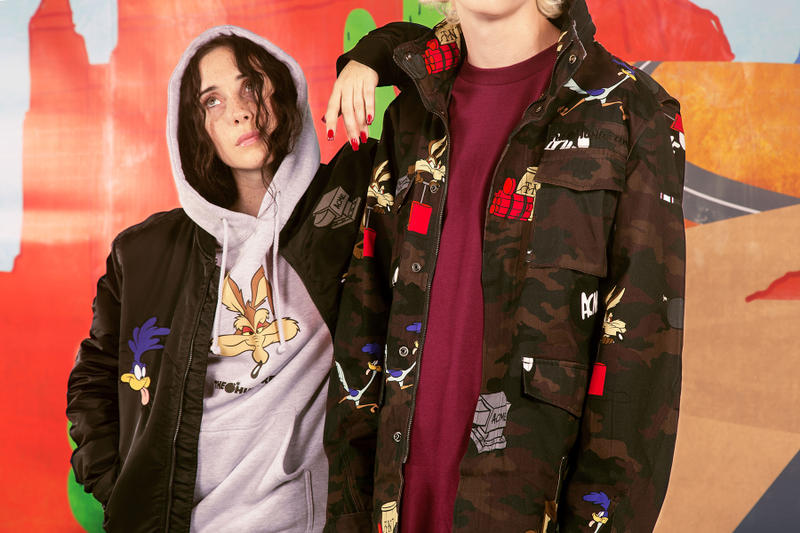 the hundreds looney tunes acme Wile E. Coyote Road Runner collaboration collection warner bros sweater military camouflage army m51 jacket print bomber