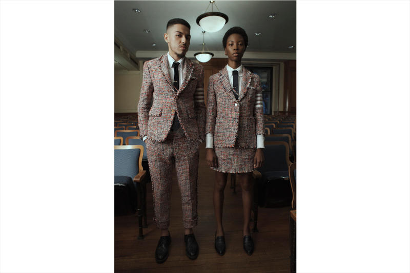 Thom Browne for Barneys New York exclusive capsule Collection fall winter 2018 men's women's new york fashion week nyfw ready to wear bespoke tailoring made to measure suit archive exhibition madison avenue flagship