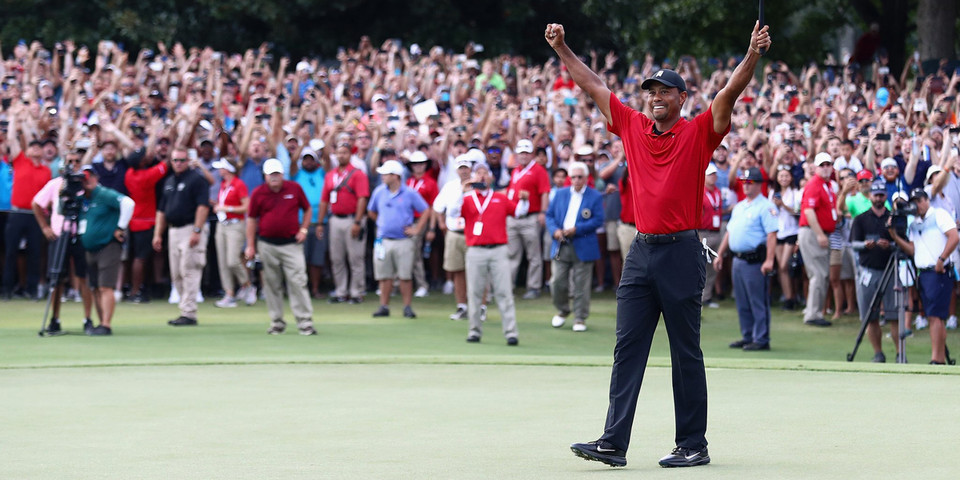 tiger woods wins first pga tournament since 2013
